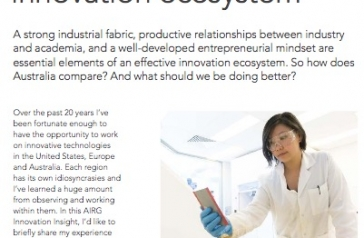 """""""Building an Australian innovation ecosystem"""": A thought provoking article by Chris in Australian Innovation Research Group (AIRG) magazine."""
